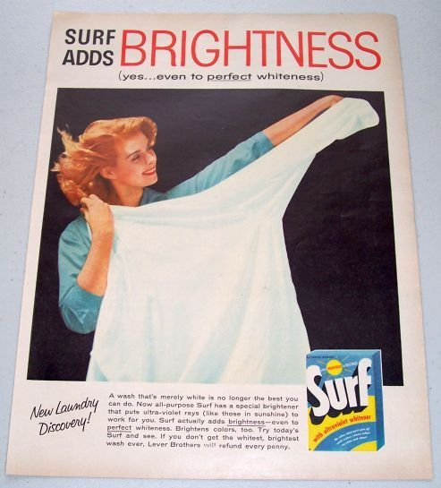 1957 Surf All Purpose Detergent Color Print Ad