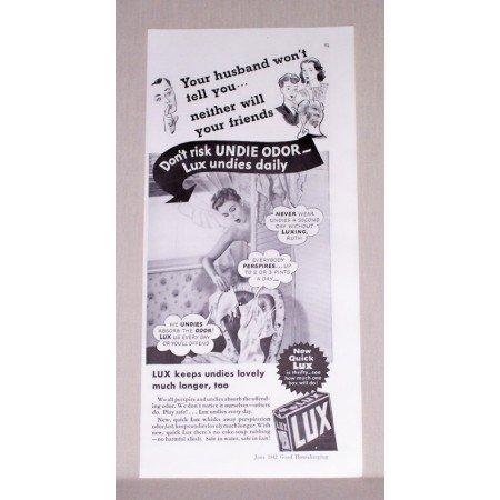 1942 Lux Detergent Vintage Print Ad - Don't Risk Undie Odor