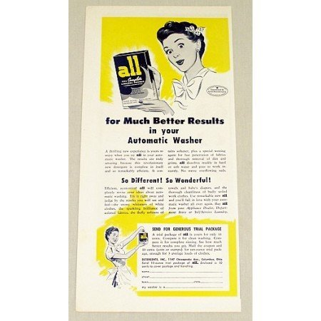 1948 All Laundry Powder Detergent Color Print Art Ad