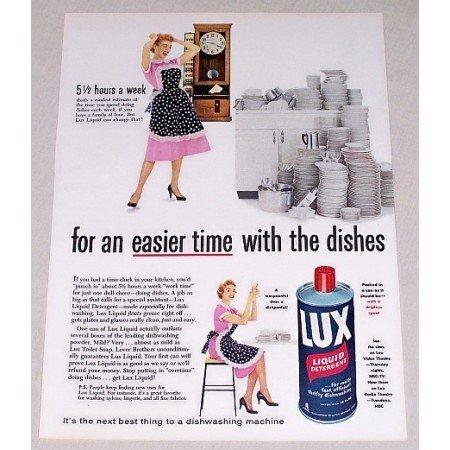 1955 Lux Liquid Detergent Color Print Ad - Easier Time
