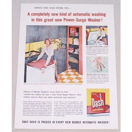 1956 Dash Detergent Bendix Dishwasher Color Print Ad