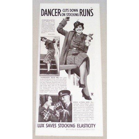 1935 Lux Detergent Vintage Print Ad - Dancer Cuts Down On Runs