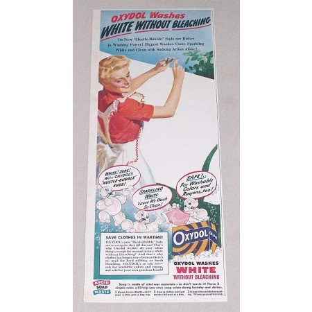 1944 Oxydol Detergent Color Print Ad - Oxydol Washes