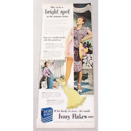 1947 Ivory Flakes Detergent Color Print Ad - Bright Spot