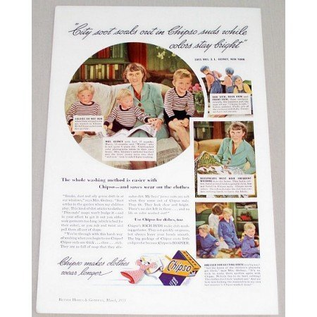 1935 Chipso Detergent Vintage Color Print Ad - Soot Soaks Out