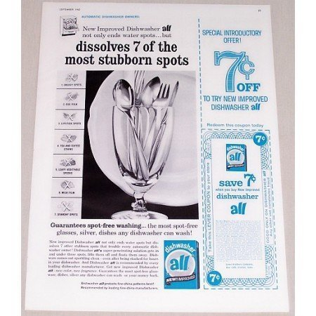1962 All Dishwasher Detergent 7ct Coupon Vintage Print Ad