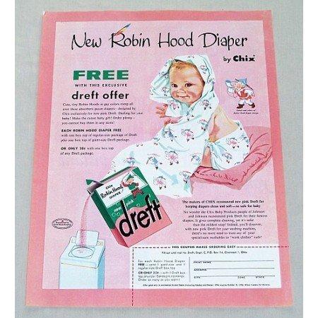 1956 Dreft Detergent Chix Robin Hood Diapers Offer Baby Art Color Print Ad