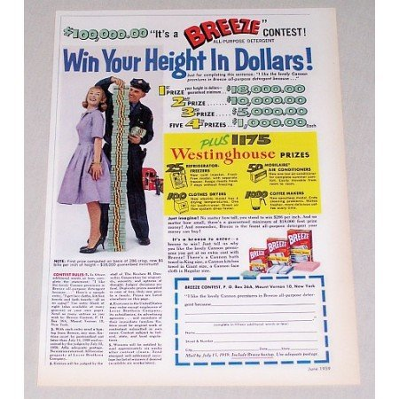 1959 Breeze Detergent Color Print Ad - Win Your Height In Dollars!
