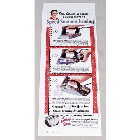 1949 General Mills Tru-Heat Clothing Iron Color Print Ad