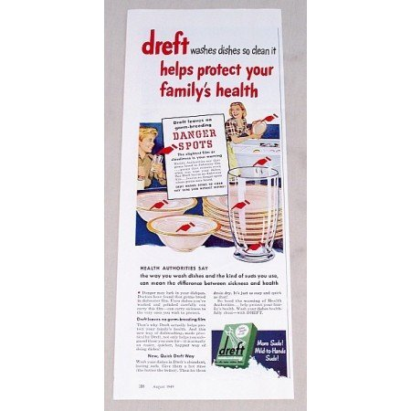 1949 Dreft Dishwasher Detergent Color Print Ad