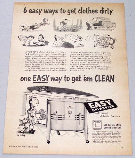 1953 EASY Spindrier Automatic Spin Rinse Dryer Vintage W. Steig Art Appliance Vintage Print Ad