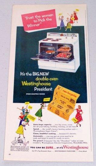 1952 Westinghouse Double Oven Electric Range Vintage Color Appliance Color Print Ad