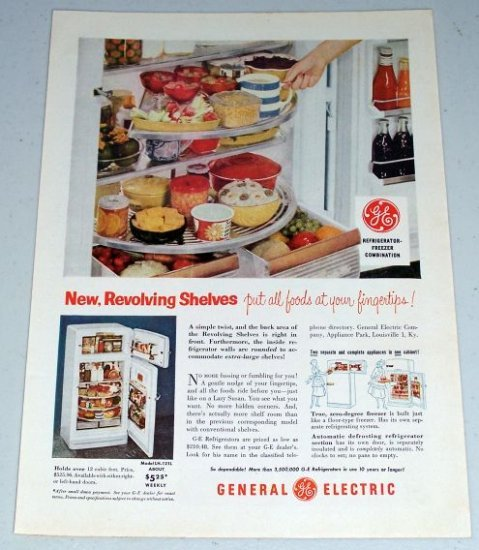 1954 General Electric GE Model LH-121L Refrigerator Color Appliance Print Ad