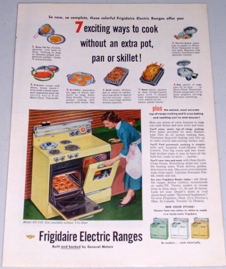 1954 Frigidaire Model RT-70G Electric Range Stove Color Appliance Print Ad