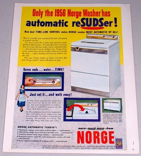 1955 Color Print Ad for 1956 Norge Automatic Washer