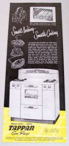 1948 Tappan Gas Range Vintage Print Ad - Smart Looking Smooth Cooking