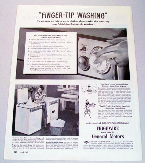1948 Frigidaire Automatic Washer Appliance Vintage Print Ad