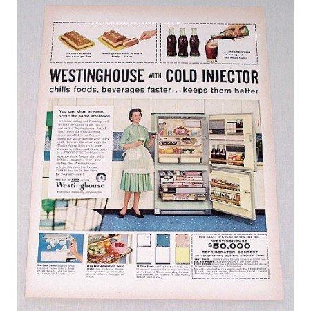 1958 Westinghouse Refrigerator Color Print Ad