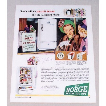 1948 Norge Self-D-Froster Refrigerator Color Print Ad