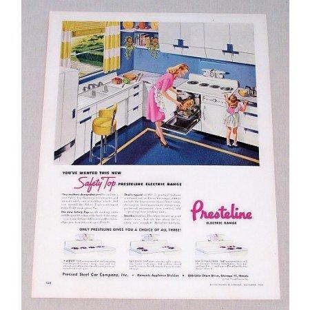 1946 Presteline Electric Range Color Print Ad Safety Top