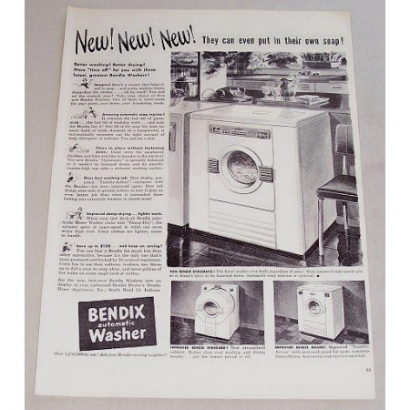 1948 Bendix Gyromatic Automatic Washer Vintage Print Ad