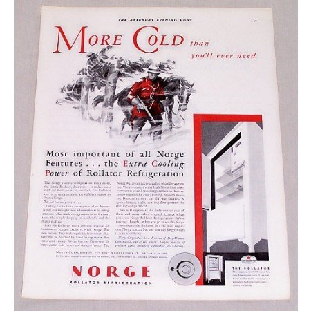 1932 Norge Rollator Refrigerator Color Print Ad