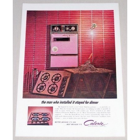 1962 Caloric Ultramatic Built-In Range Color Print Ad