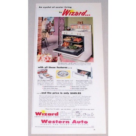 1956 Western Auto Wizard Deluxe Gas Range Color Print Ad