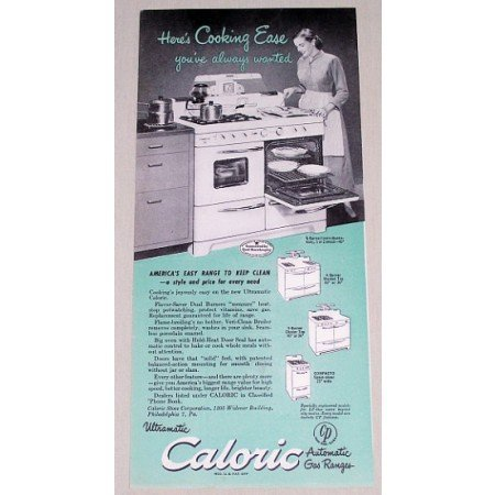 1949 Caloric Automatic Gas Range Color Vintage Print Ad Cooking Ease