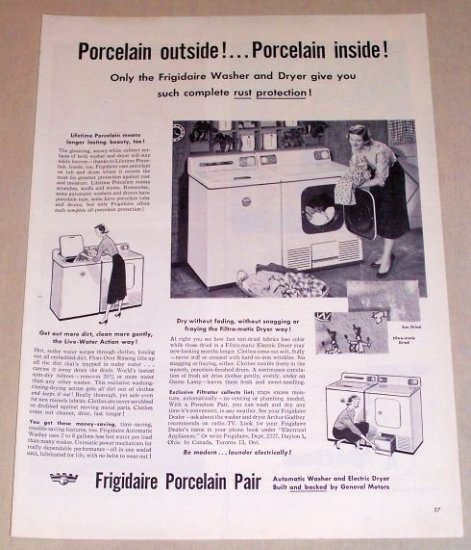 1954 Frigidaire Porcelain Pair Washer Dryer Vintage Print Ad