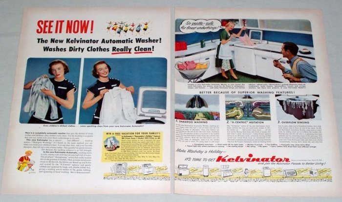 1953 Kelvinator Automatic Washer 2 Page Color Print Ad