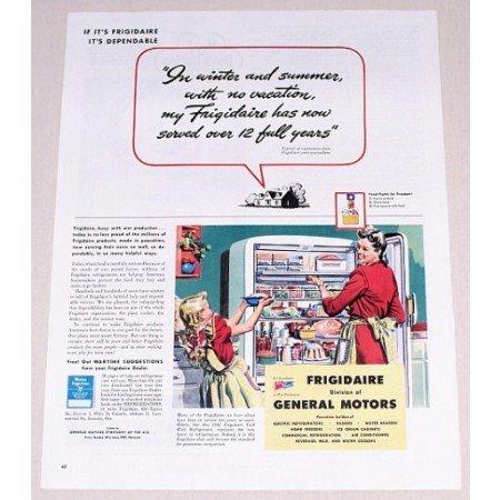 1944 Frigidaire Refrigerator Color Print Ad - Winter Summer