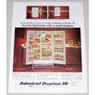 1964 Admiral Duplex 19 Freezer Refrigerator Color Print Ad