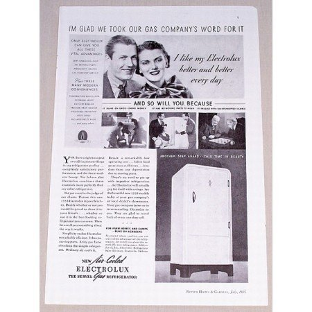 1935 Servel Electrolux Gas Refrigerator Vintage Print Ad