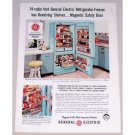 1956 General Electric Refrigerator Freezer Color Print Ad