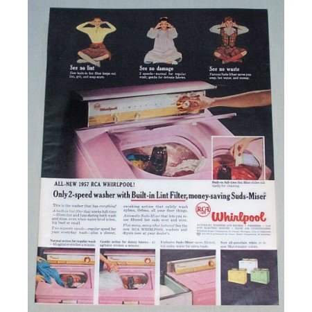 1957 RCA Whirlpool 2 Speed Washer Color Print Ad