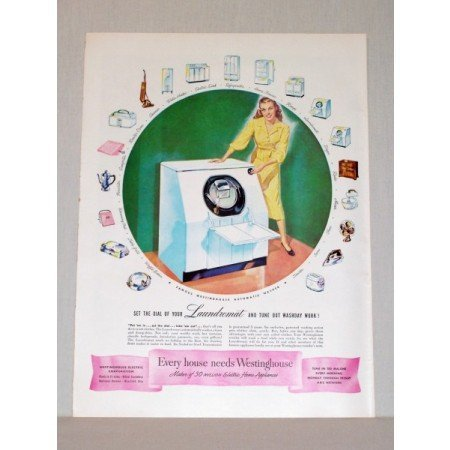 1948 Westinghouse Laundromat Automatic Washer Color Print Ad
