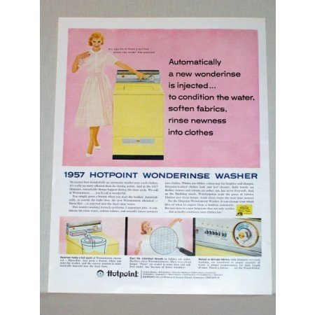 1957 Hotpoint Wonderinse Automatic Washer Color Print Ad