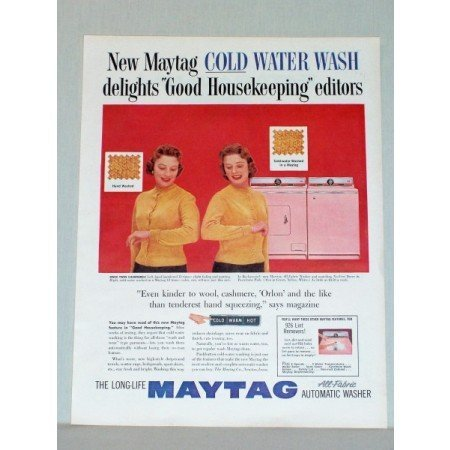 1957 Maytag All Fabric Washer No Vent Dryer Color Print Ad