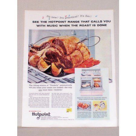 1957 Hotpoint Deluxe Oven Pushbutton Electric Range Color Print Ad