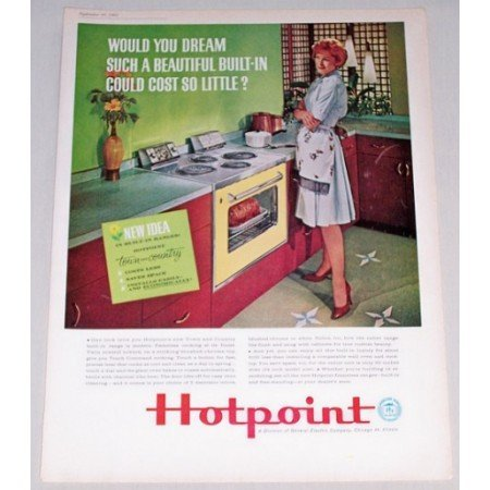 1961 Hotpoint Town And Country Built-In Range Color Print Ad