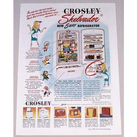 1948 Crosley Shelvador 5 Way Refrigerator Color Print Ad