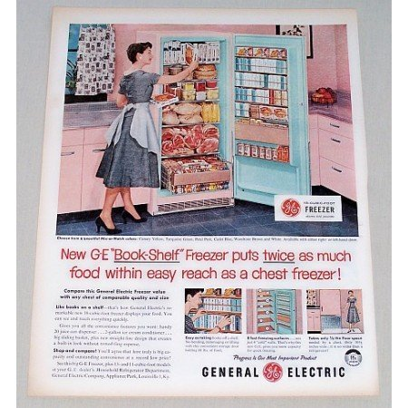 1956 General Electric Book-Shelf Freezer Color Print Ad