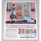 1956 General Electric Book-Shelf Freezer Color Print Ad