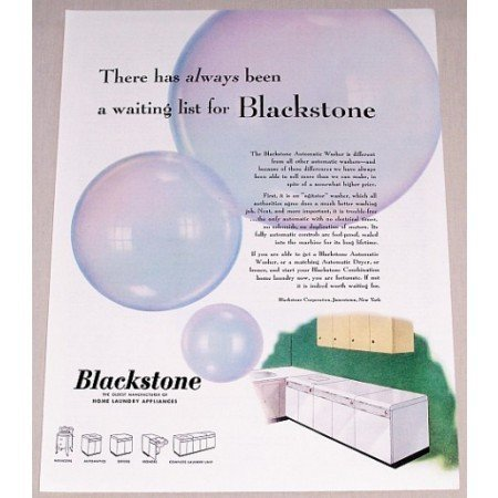 1952 Blackstone Home Laundry Appliances Color Print Ad