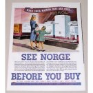 1945 Norge Major Home Appliances Window Shopping Art Color Print Ad - Waiting Day
