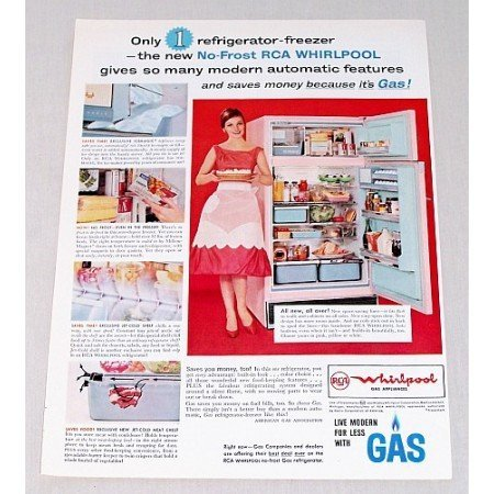 1961 RCA Whirlpool No-Frost Refrigerator Freezer Color Print Ad