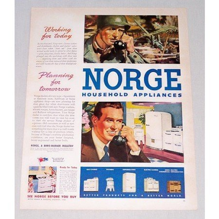1944 Norge Household Appliances Color WWII Wartime Print Ad