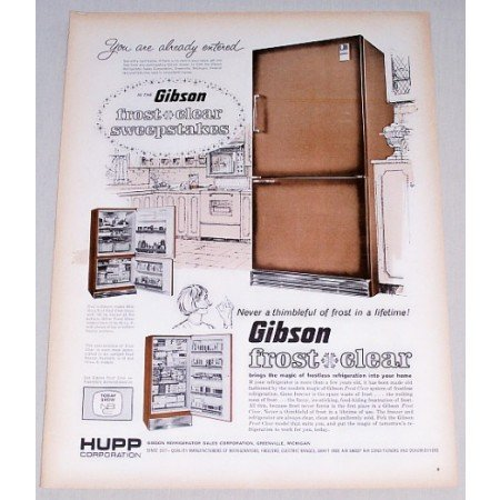 1965 Gibson Frost Clear Refrigerator Color Print Ad