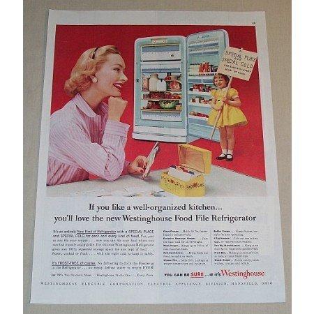 1954 Westinghouse Food File Refrigerator Color Print Ad